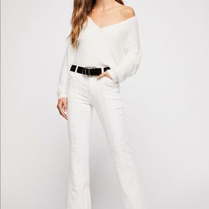 Free People So Many Seams Flare Jeans White New